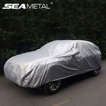 Zewnętrzna ochrona pokrowiec na samochód odkryty parasol przeciwsłoneczny pełne etui osłona przeciwsłoneczna UV deszcz mróz śnieg odporny na kurz uniwersalny dla Sedan SUV tanie i dobre opinie SEAMETAL 4 8m Polyester Plandeki samochodowe UV proof Waterproof 1 9m 1 89m Car Cover Car Tent C37897 S M L XL Universal For Sedan SUV