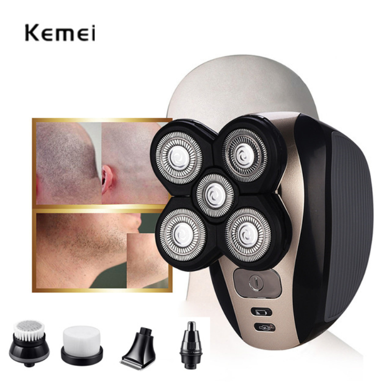 KEMEI 5 In 1 Electric Shaver Washable 5 Blade Heads Electric Shaving Rechargeable Razors Multifunction Men Face Care Tools original 3 in 1 washable rechargeable electric shaver triple blade