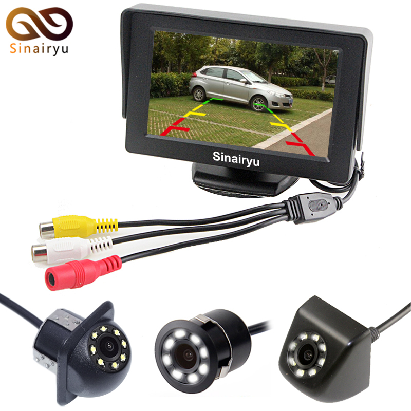 Sinairyu HD Waterproof LCD Parking Monitors System With LED Night Vision Car Rear View C ...