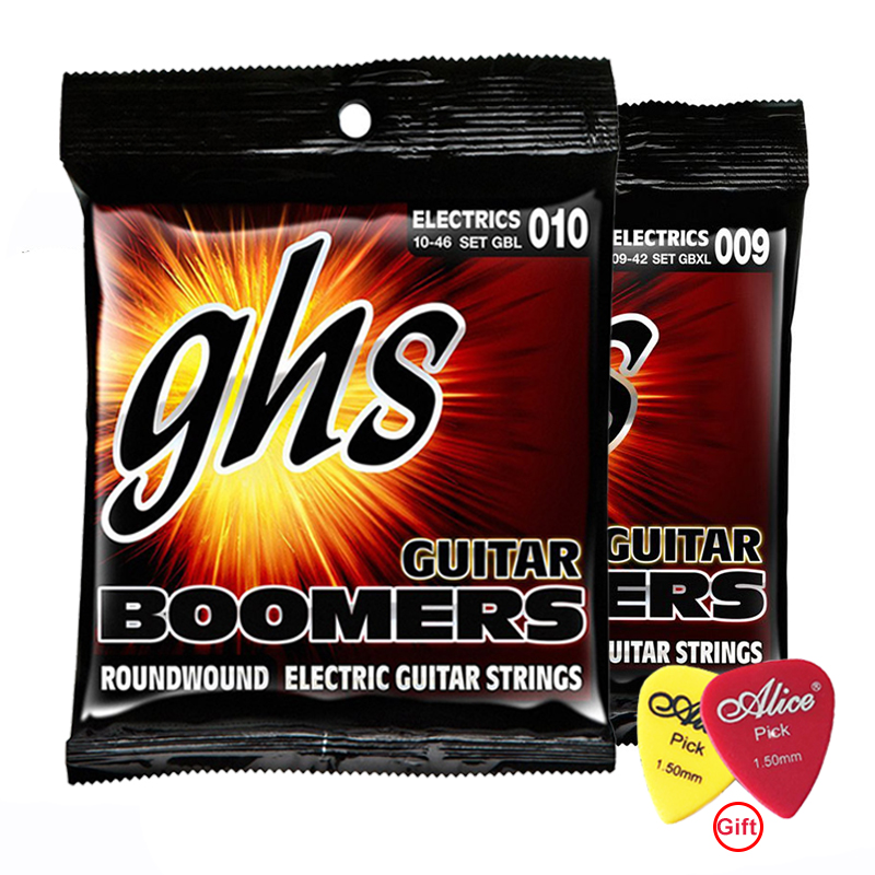 NEW! [1PACK/3PACKS] GHS Electric Guitar Strings Boomer Set Extra Light Nickel Steel 09-42 / Light 10-46 With guitar picks
