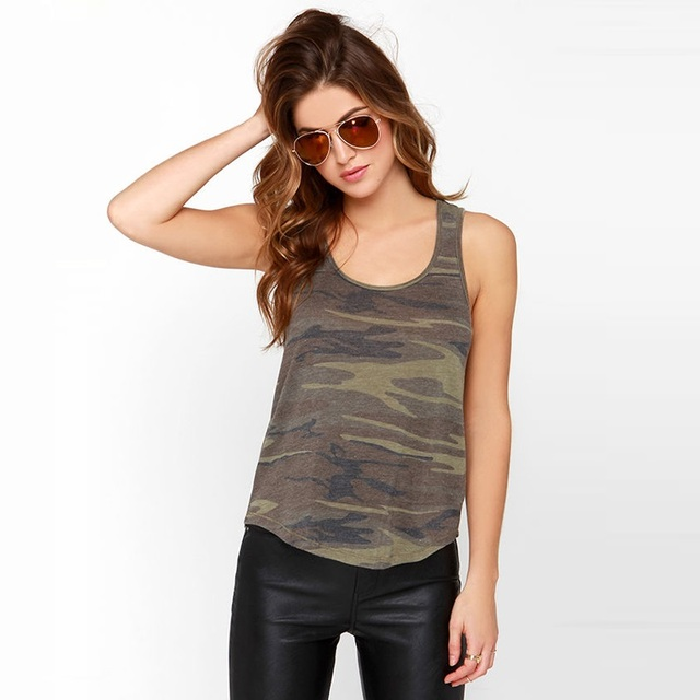 2016 Summer Casual T-Shirt Camouflage Women O Neck Strap Irregular Hem Loose Casual Women Tank Top Y0426-32C
