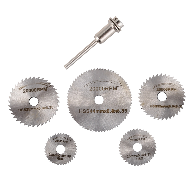 ELEG-6pcs Mini Circular Saw Blade Set HSS Cutting Disc Rotary Drill Tool Accessories For Wood Plastic And Aluminum