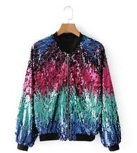2018 Winter Sequin Jacket Womens Sparkly Bomber Jacket Drie Kwart Mouwen Rits Glitter Streetwear Mode Jassen Jas DW638(China)