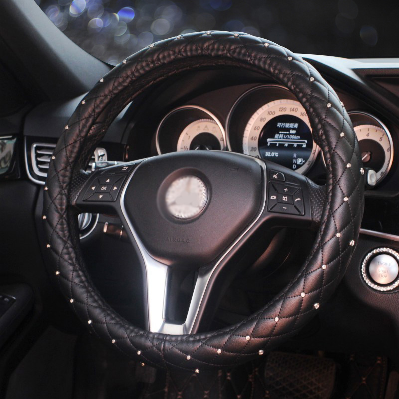 Luxury Crystal Diamond Car Steering Wheel Cover Premium Leather Steering-Wheel Covers For Women Girls Car Styling Accessories senior luxury hand knitted bv style car steering wheel cover for mini cooper