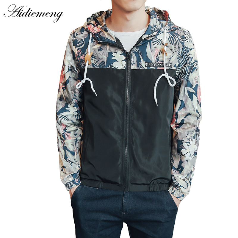 Windbreaker Jackets Mens Hooded Jacket Sportswear Bomber Jacket Fashion Light Weight Flowers Casual Mens Jackets Coats Outwear