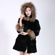 The 2016 winter rabbit fur coat A real lady rabbit fur hooded raccoon fur coat Fashion 3XL Russian fur Overcoat