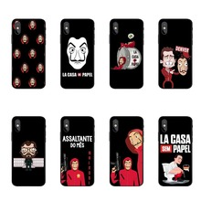 Spain TV La Casa de papel black Cover TPU soft silicone Phone Case Cover For iPhone 5 5S SE 6 6SPlus 7 8Plus X10 XR XS MAX Case ufc conor mcgregor the king soft tpu silicone cover phone case for iphone 6splus 7plus 8plus se 5 5s 6 6s 7 8 max xr xs x10