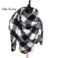 [Ode To Joy ] Winter 2016 Tartan Scarf Desigual Plaid Scarf New Designer Unisex Acrylic Basic Shawls Women's Scarves black