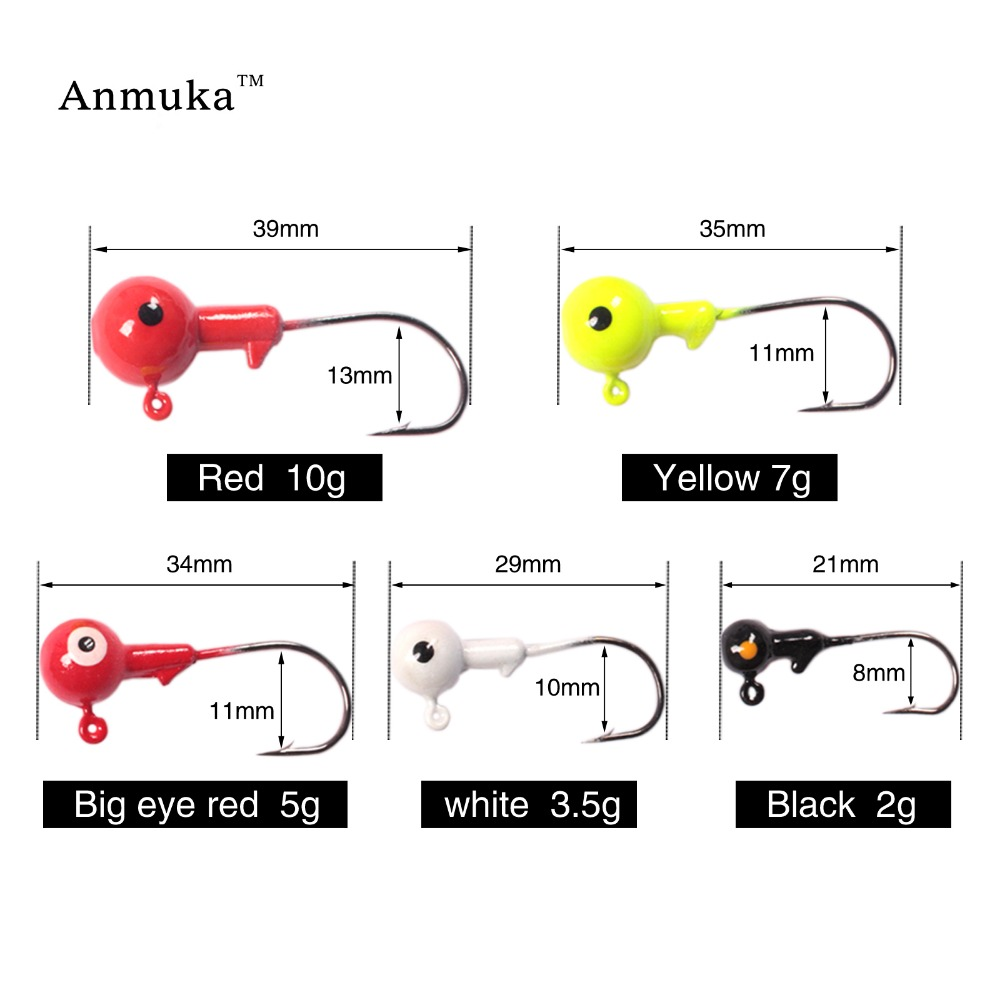 Anmula New Jig Hooks 1g 2g 3.5g 5g 7g 10g 14g 20g Lead Head Jigs With Single Hook Pesca Accessories Sea Fishing Enquipment