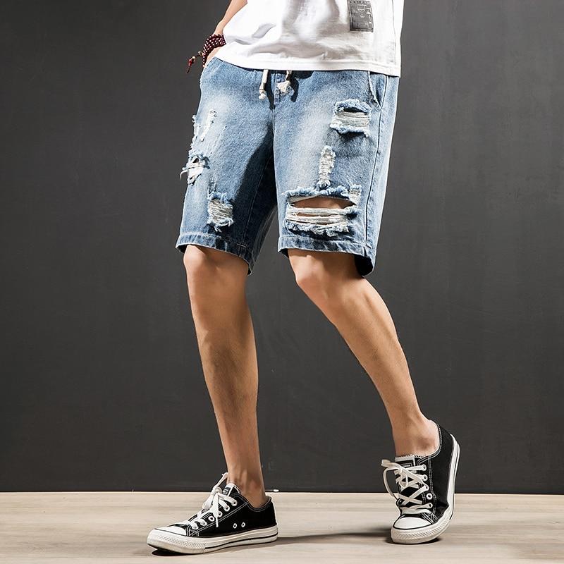 2019 Summer New Mens Hole Denim Shorts Jeans Fashion Casual Slim Fit High Quality Straight Men Brand Clothing Short