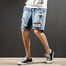2019 Summer New Mens Hole Denim Shorts Jeans Fashion Casual Slim Fit High Quality Straight Denim Shorts Men Brand Clothing Short slim straight hole ripped short jeans for men denim summer short men jeans new high quality cotton fashion casual new brand