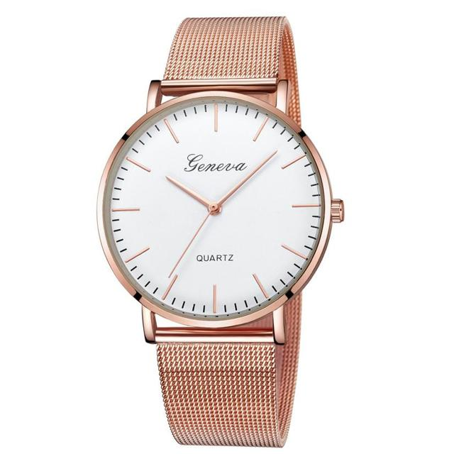 2ed93d920dd4 Ginebra relojes para mujer 2018 nueva marca clásico de cuarzo de pulsera de  acero inoxidable reloj