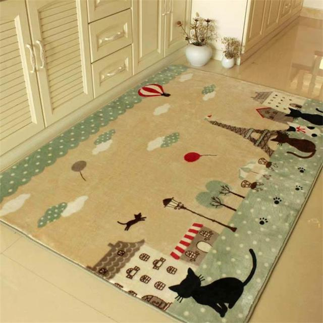 Perfect 130X185CM Cartoon Cat Carpets For Living Room Kids Bedroom Rugs And Carpets  Soft Suede Children Play