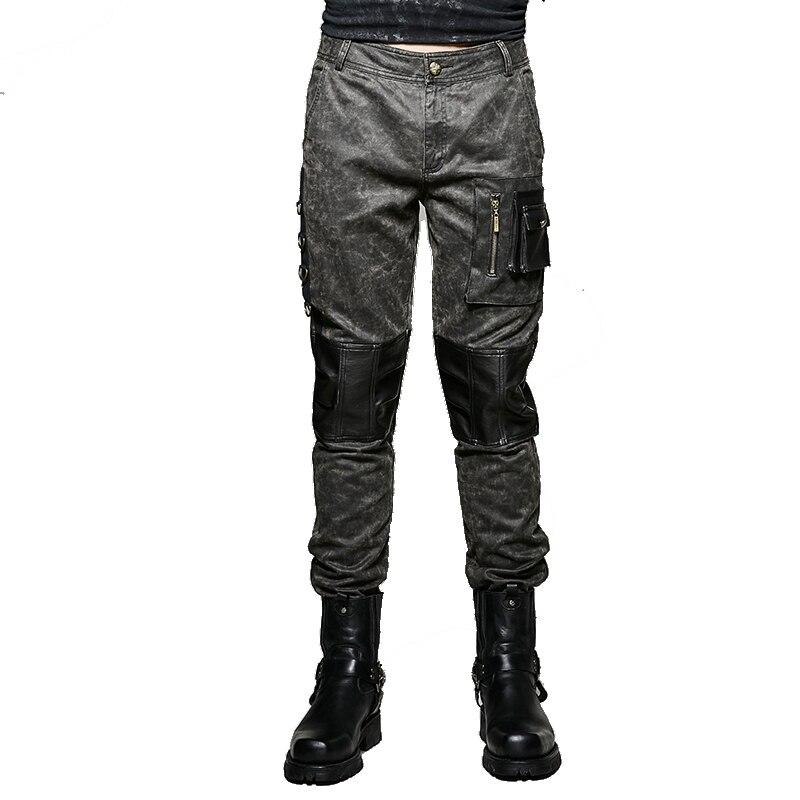 2017 Neue Europa Und Die Vereinigten Staaten Militär Punk Hose Männer Baumwolle Slim Fit Mit Tasche Splicing Bleistift Hosen Seien Sie In Geldangelegenheiten Schlau