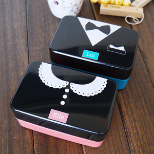 ELLE French Romantic Portable Lunch Bento Box Lovely Double-deck Tiffin Food Container Child Kids Lunch-box Plastic Lover Gift
