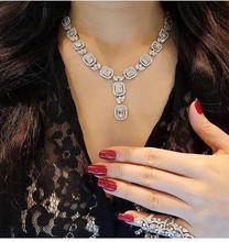 HIBRIDE جديد وصول قطرة الماء واضح زركون النيجيري مجوهرات مجموعات النساء الزفاف مربع شكل قلادة طقم من الحلقان N 1047