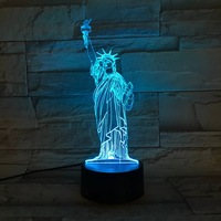Vrijheidsbeeld 3D led nachtlampje Gradiënt kleur tafellamp voor home decoratie