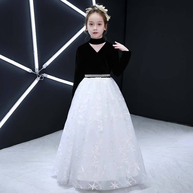 Halter Girls Holy Communion Dress V-neck Patchwork Flower Girl Dresses Long Sleeve Beading Kids Pageant Dress for Birthday Party цены онлайн