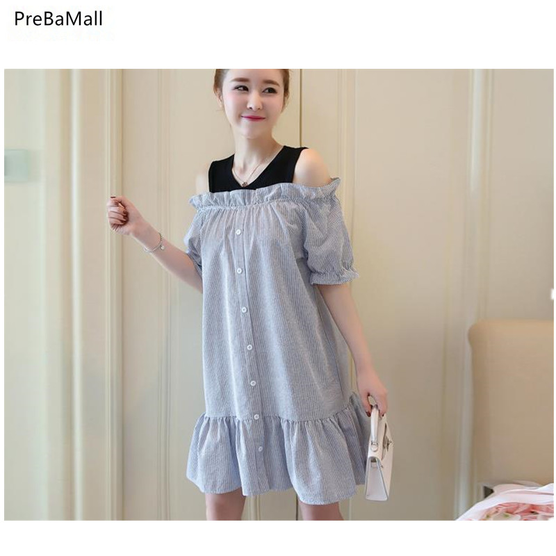 Maternity Dress Short Sleeve Clothes For Pregnant Women Striped Pregnant Clothing Fake 2pcs off shoulder Robe De Grossese C0018 in Dresses from Mother Kids