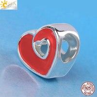 CSJA Love Heart 925 Sterling Silver Bạc Hạt Fit Pandora Charms Lắc Dễ Thương Hạt Châu Âu Quà Tặng Trang Sức Làm Vòng Cổ E614