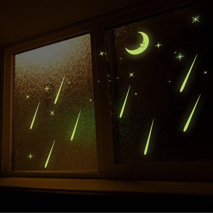 Aliexpress Com Buy Fluorescent Romantic Meteor Shower Moon Diy Wall Stickers Night Glow In Dark Luminous Stars Kids Room Nursery Mural Decal From Reliable