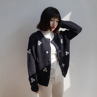 Harajuku 2017 Spring And Autumn Women Korean Japanese Kawaii Cute Long Sleeve Round Neck Embroidered