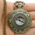 Dial 4.5 cm SteamPunk Style Constellation Zodiac Pocket Watch Pendant Necklace
