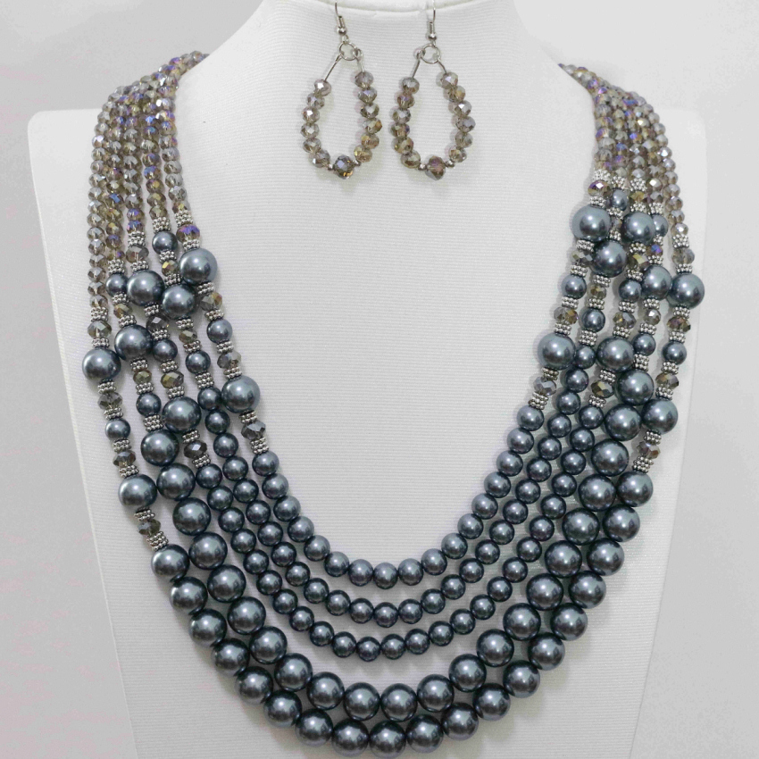 Free shipping gray 5 rows necklace earrings for women charms glass crystal faux pearl shell beads unique jewelry set B983-11