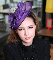 Free Shipping Fashion Women Fascinator Hair Accessory Sinamay Fascinator Hair Clips Party Hats Flower Hair Accessories