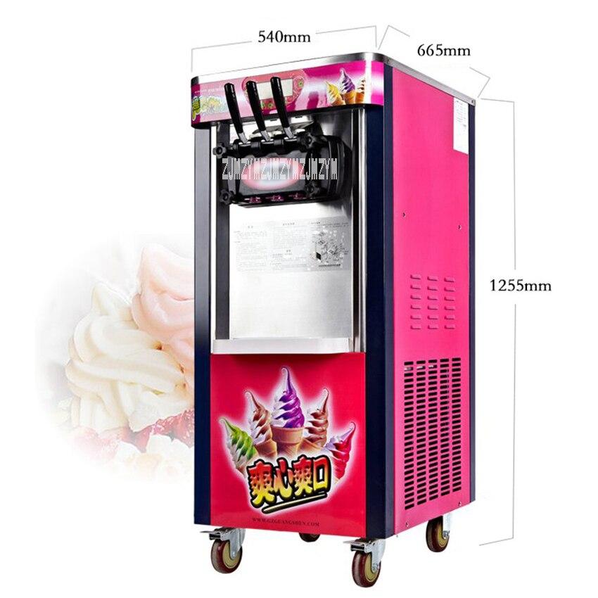Machine à crème glacée verticale 26L/H, Machine à Gelato, fabricant de crème glacée BJ218C, Machine à crème glacée molle 10.5A courant évalué 2000 W