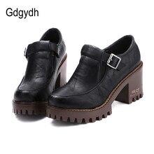 Gdgydh Nueva Primavera 2017 Mujeres de la Plataforma Zapatos De Tacones Británica estilo de Zapatos de Un Solo Dedo Del Pie Redondo Tacones Cuadrados Bombas de Las Señoras Grandes tamaño