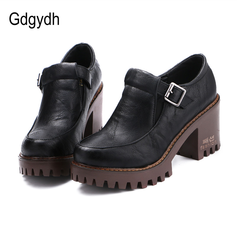 Gdgydh New 2019 Spring Platform Women Shoes On Heels British Style Single Shoes Round Toe Square Heels Ladies Pumps Large Size
