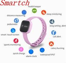 Smartch 2017 наиболее продаваемых V8 здоровья измерять кровяное давление смарт-браслет с сенсорный датчик сердцебиения браслет отложным воротником запястье ночного B