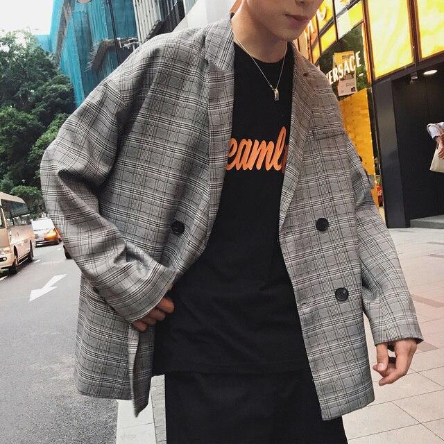 2018 Autumn Men's New Lattice Printing Suit Clothing Loose Coat Oversize Streetwear Brand Bomber Jacket Grey Windbreaker M-XL