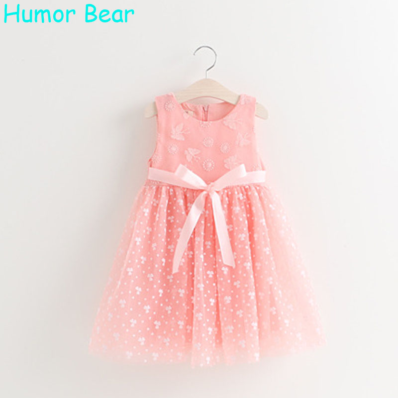 Humor Bear Girl Princess Dress 2017 Summer Girls Dresses Style Sleeveless Children Clothes Bowknot Belt Design Suitable for 3-7Y children dresses 2017 summer fashion style girls lace princess dress kids sleeveless embroidery cute clothes dress for 3 7y