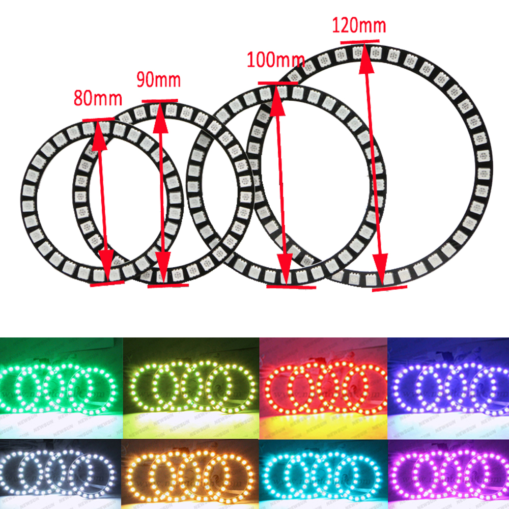 IR Remote RGB Led Halo Ring light 40mm 50mm 66 72mm 75mm 80mm 90mm 100mm 105mm 115mm 120mm 125mm 140mm Angel eyes Auto Headlight