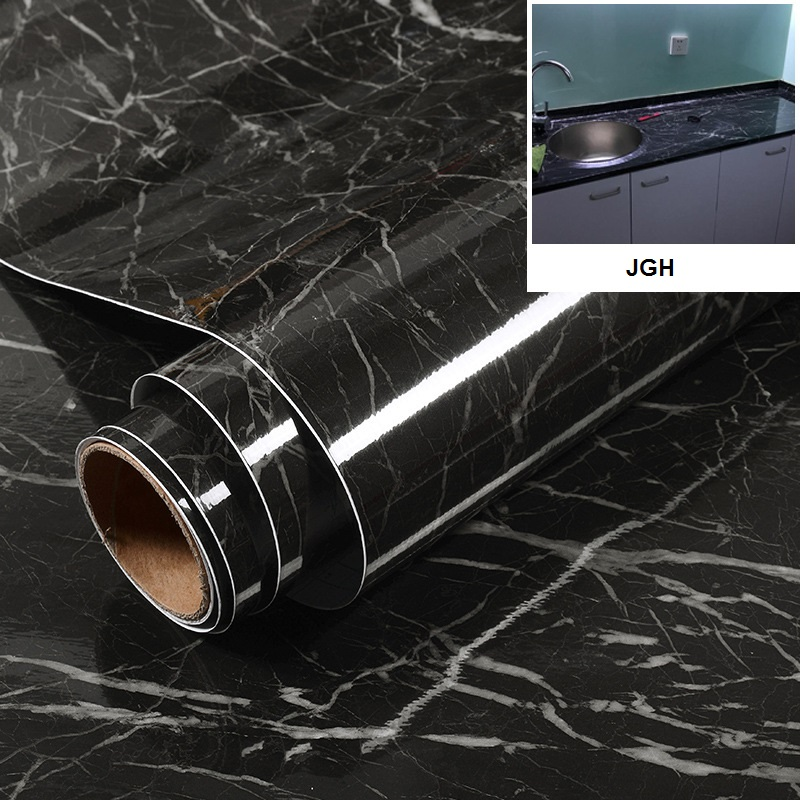 Thicking PVC Waterproof Gray White Black Marble Selfadhesive Wallpaper For Kitchen Living Room Contact Paper