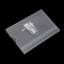 100pcs Clear PVC Waterproof ID Card Holder Clips Transparent Badge Holder for Access Card 90x54x0.25mm