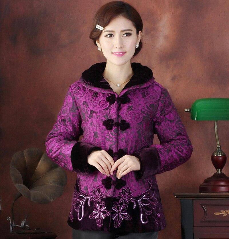 Femmes Xxl Fleur Tf2015020 burgundy Broder 4xl Traditionnelle De L Xl D'hiver New Chinoise 3xl Purple Ouatée Manteau 2015 Veste HaBOcqIW