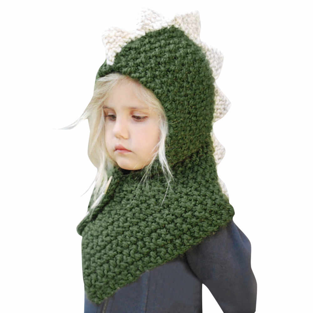 216572d98ce ... Winter Dinosaur Hats for Baby Toddler Kids Fox Warm Woolen Hats Coif  Hood Scarf Caps Boys ...