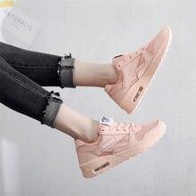 Купить с кэшбэком Fashion Korean white platform sports shoes women's shoes leather lace pink breathable mesh Tenis Feminino casual shoes