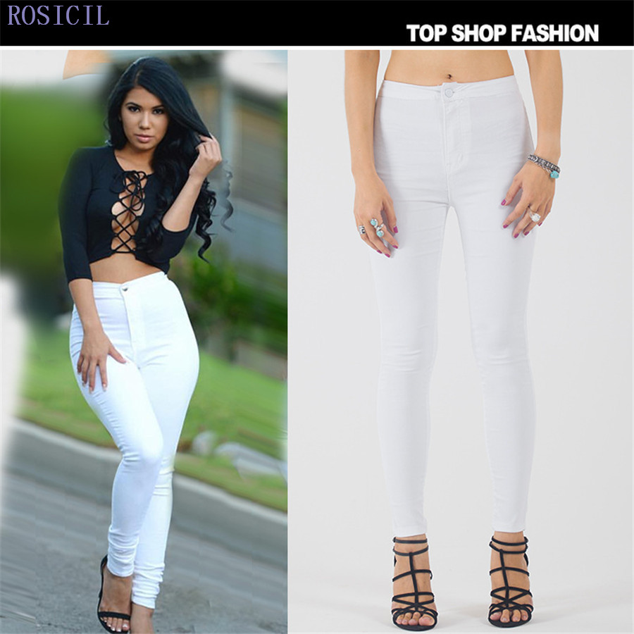 ROSICIL Fashion high waist Women jeans Stretch Skinny jeans Female high quality slim Pencil pants Denim Ladies pants T-AM02# rosicil women jeans plus size stretch skinny high waist jeans pants women blue pencil casual slim denim pants top 003