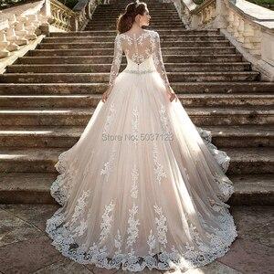 Image 2 - Suknia balowa suknie ślubne długie rękawy koronkowe aplikacje frezowanie Sashes przycisk ślub suknia ślubna Vestido De Noiva Plus rozmiar