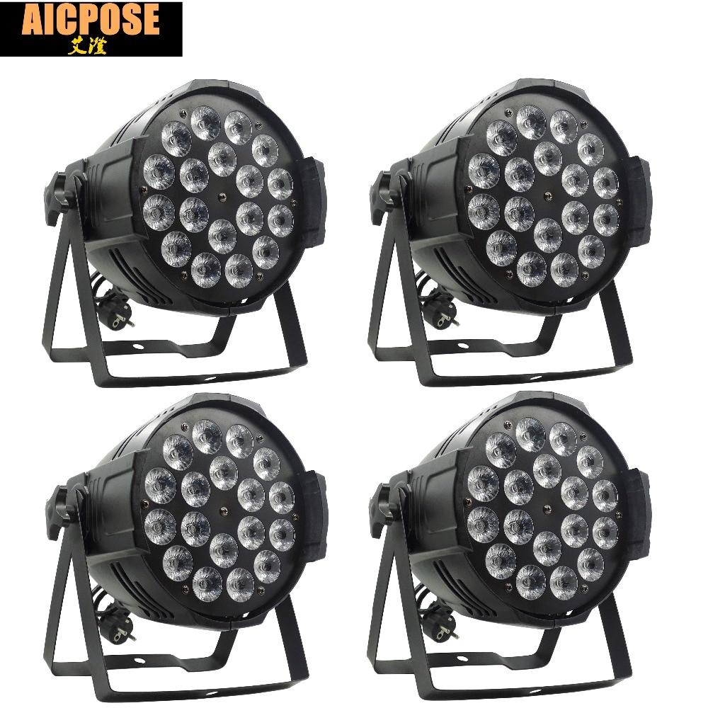 4pcs/lots 18*12w Light Aluminum LED Par 18x12W RGBW 4in1 LED Par Can Par 64 led spotlight dj projector wash lighting stage light