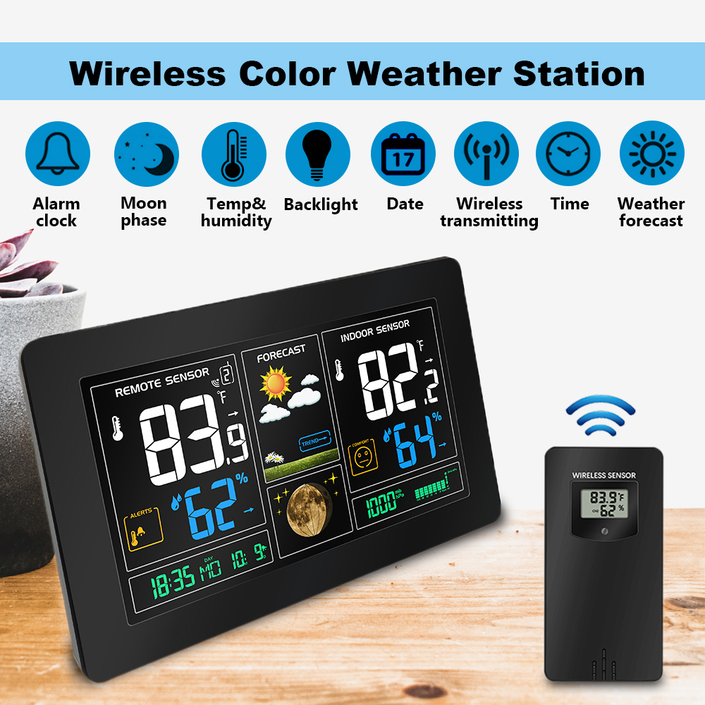 Wireless Color Digital USB Outdoor Barometric Pressure Hygrometer Thermometer Clock Weather Station with 2 Sensor wireless weather station digital color lcd thermometer forecaster clock indoor outdoor humidity meter with remote sensor 50% off