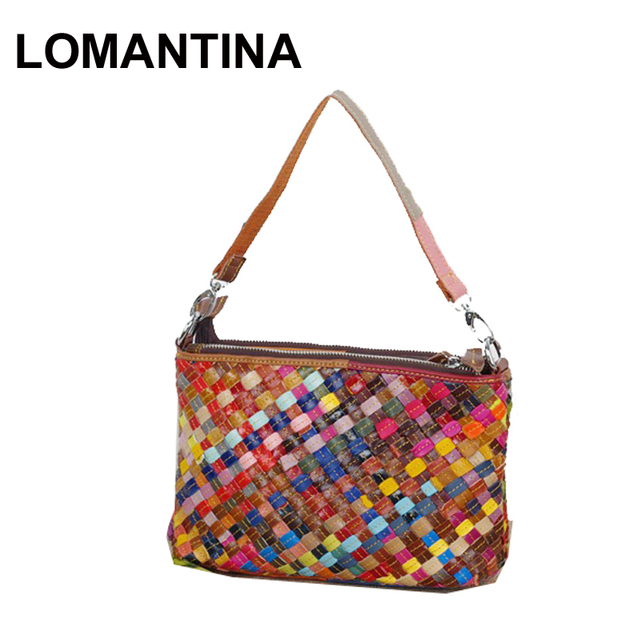 0346a42d890d LOMANTINA Colorful Knitting Shoulder Bag Ladies Messenger Bags Knitting Girls  Crossbody Bag For Women 3 Zippers Purses