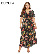 DUOUPA 2019 New Spring and Summer Womens V-neck Print Dress Bohemian Beach Sexy Big Loose Clothing