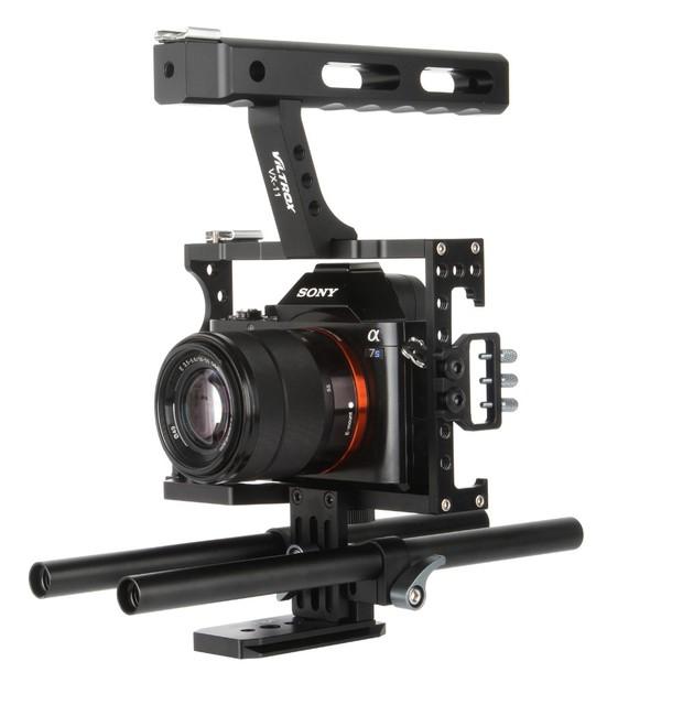 15mm Varilla Rig DSLR Cámara de Vídeo Estabilizador Kit Jaula + Top Mango grip para sony a7 ii a7r a7s a6300 a6000 panasonic gh4 gh3