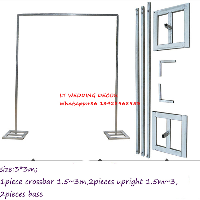 3m Wedding Zincplated Metal Backdrop Stand Drap Piping Frame