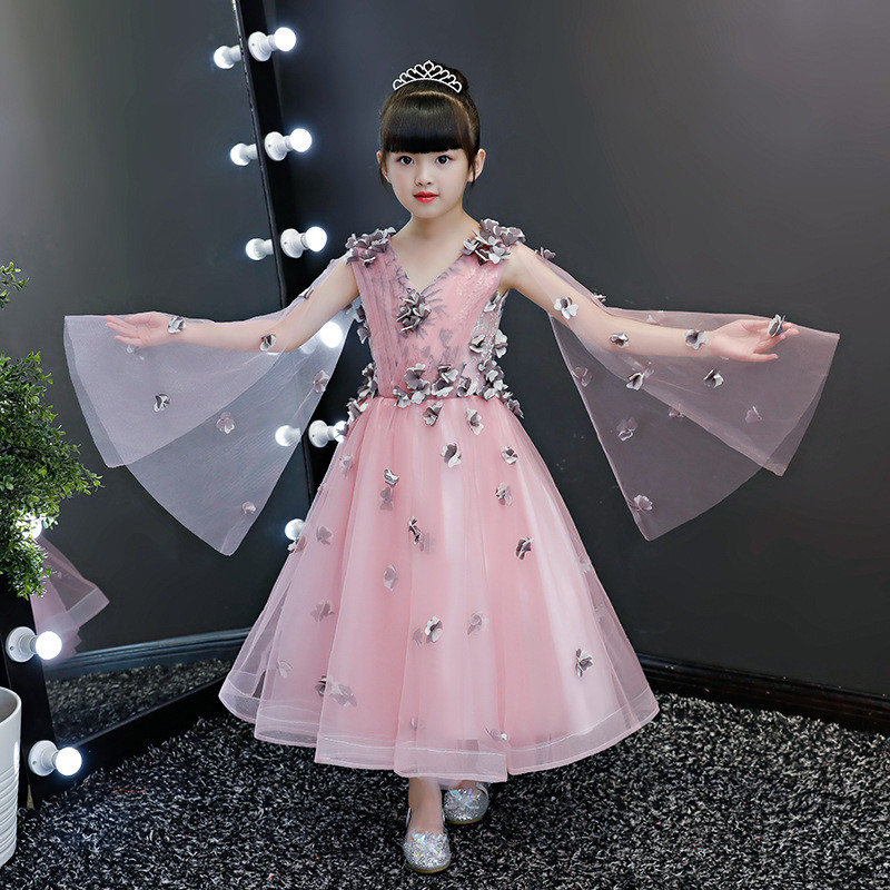 2019 Kid Girl Lace Appliques Princess Ball Gown Teen Girl Pageant First Communion Dress Children Mesh Wedding Party Vestido Q6732019 Kid Girl Lace Appliques Princess Ball Gown Teen Girl Pageant First Communion Dress Children Mesh Wedding Party Vestido Q673